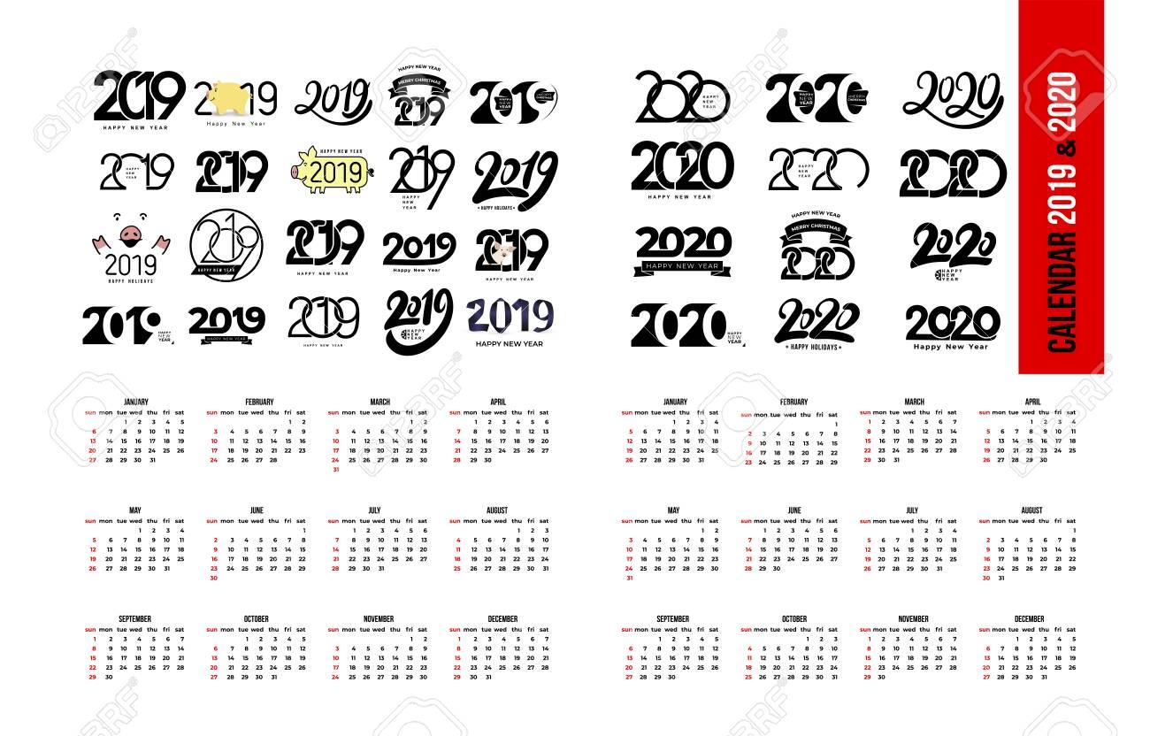 Set Of Calendar 2019 And 2020 Template. Calendar Logo Design