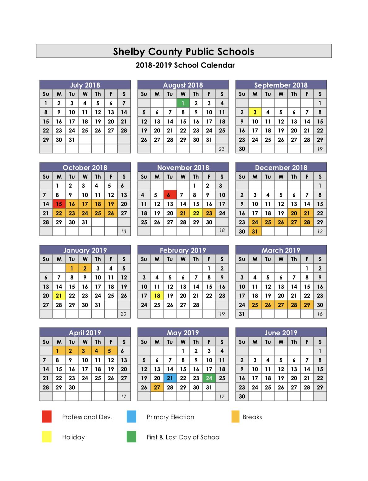 Shelby County High School / Calendar