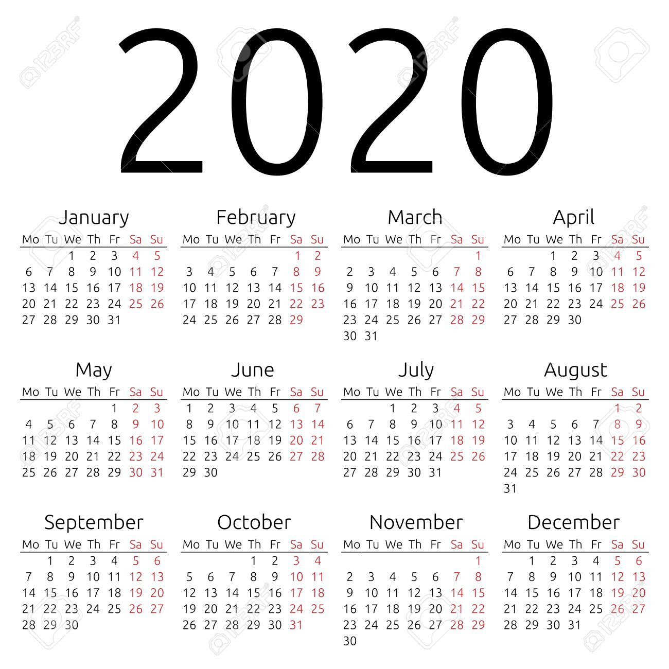 Simple 2020 Year Calendar Royalty Free Cliparts, Vectors, And Stock