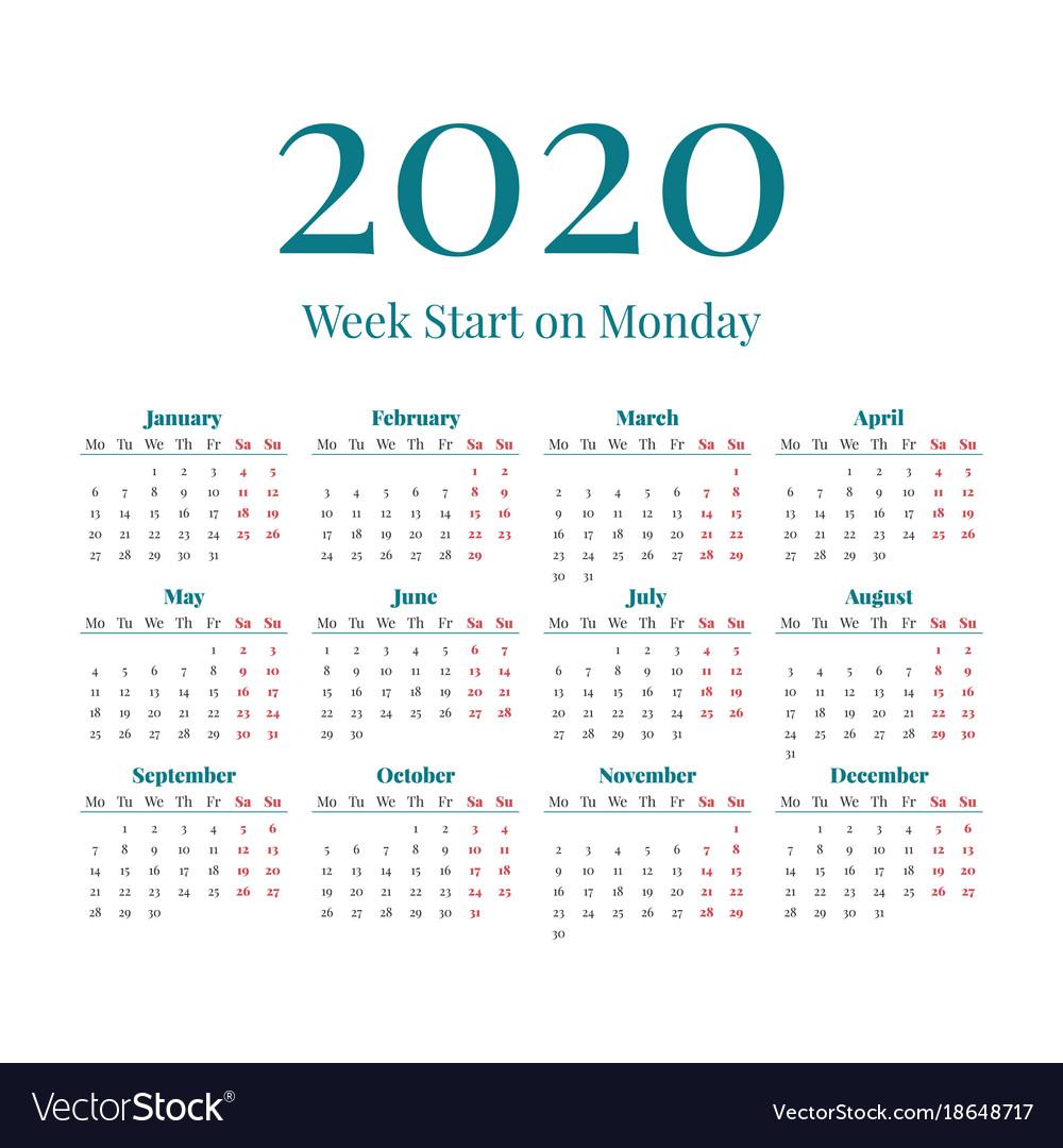 Simple 2020 Year Calendar Royalty Free Vector Image