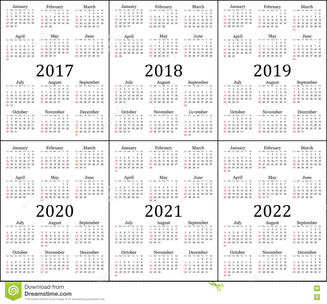 Six Year Calendar - 2017, 2018, 2019, 2020, 2021 And 2022 Stock