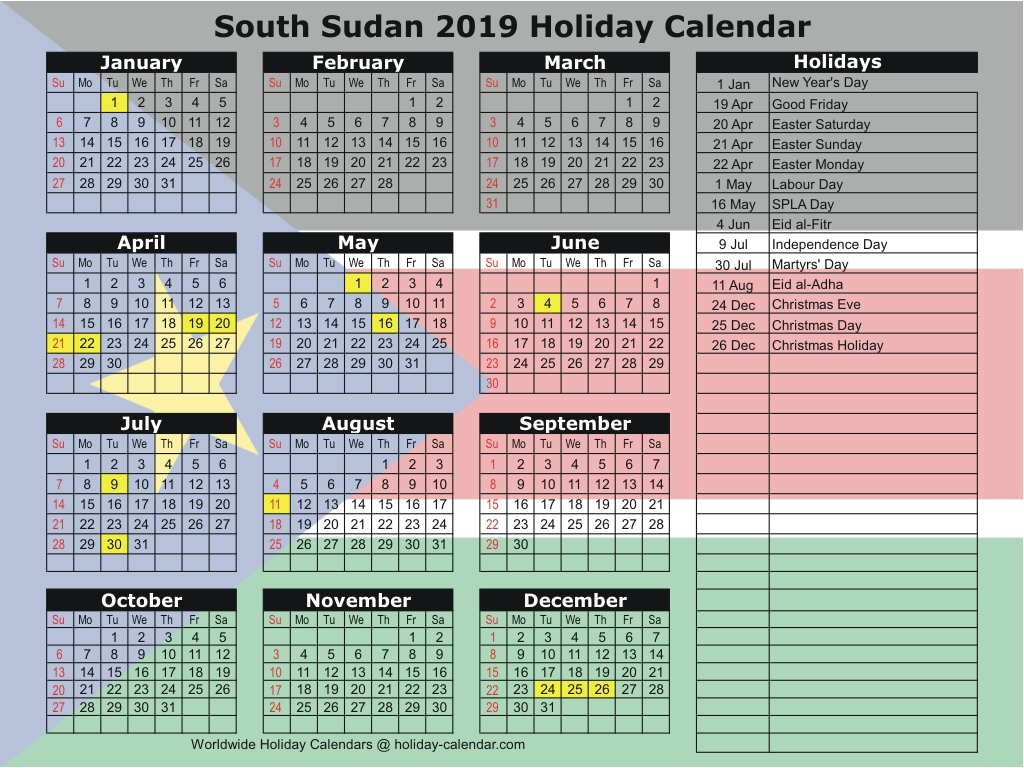 South Sudan 2019 / 2020 Holiday Calendar