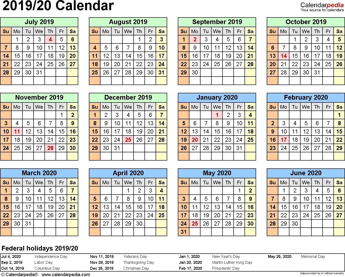 Split Year Calendar 2019/20 (July To June) - Pdf Templates