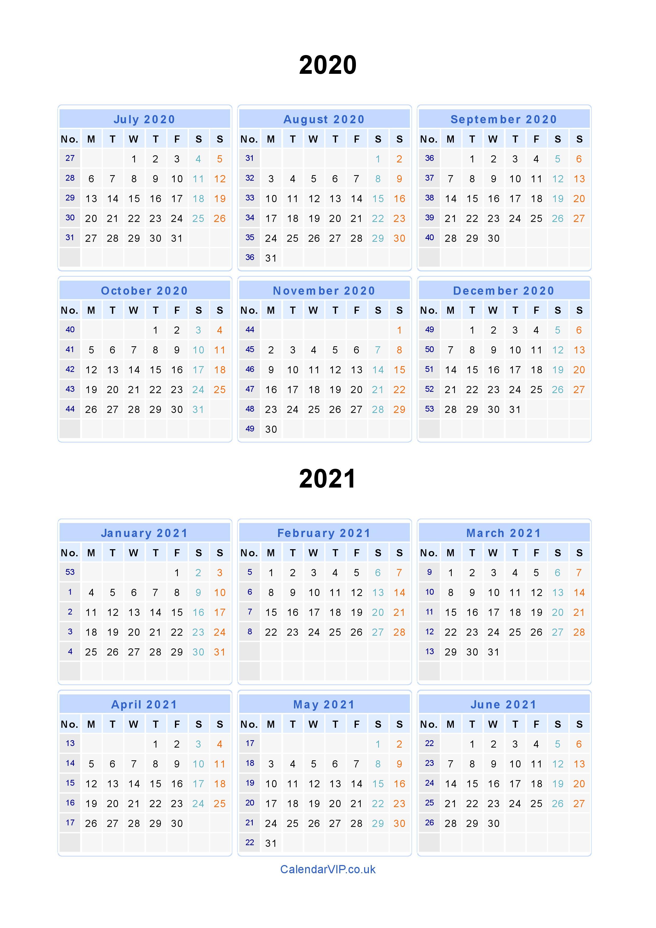 Split Year Calendars 2020 2021 - Calendar From July 2020 To June 2021
