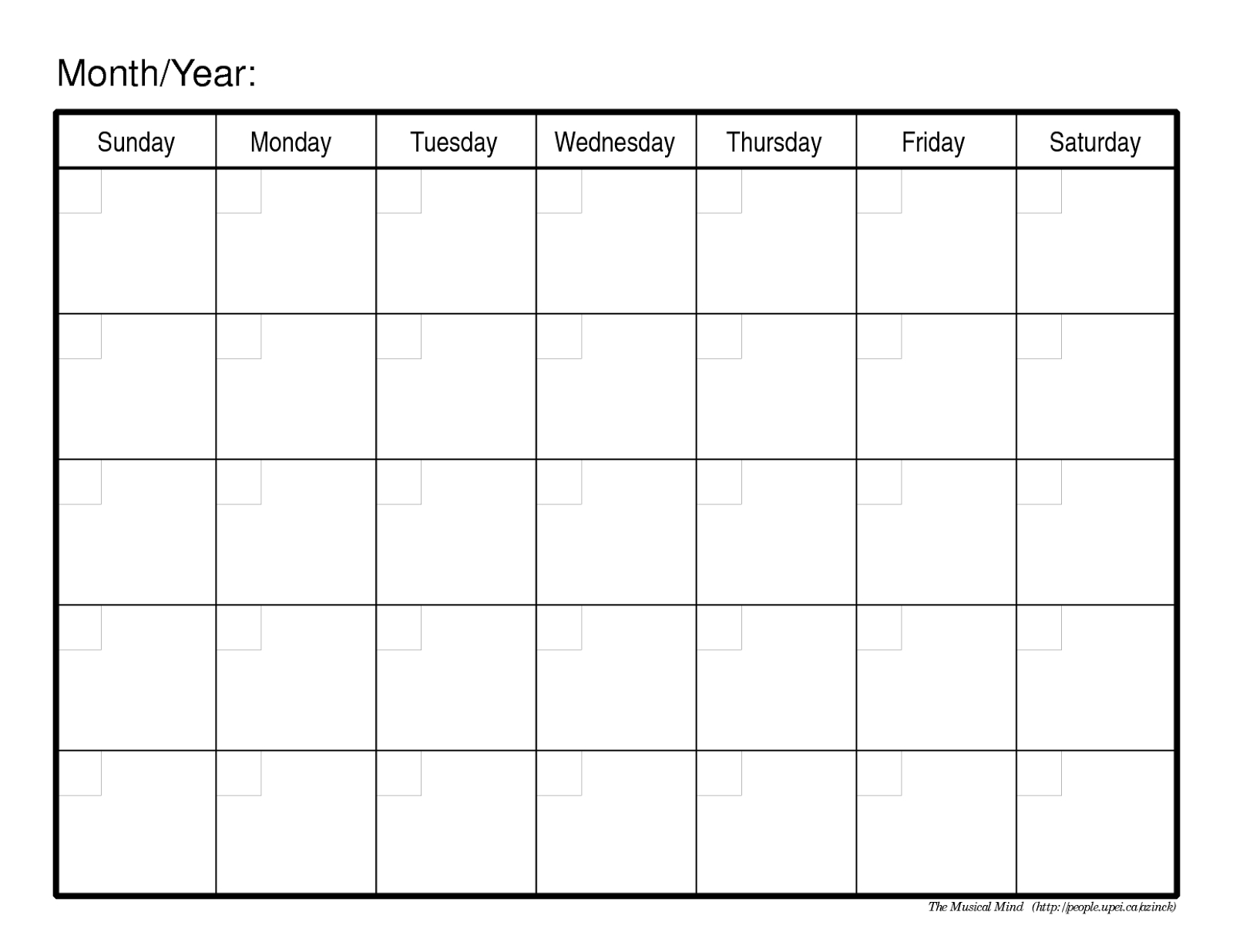 Take Blank Calendar Mon Through Fri With No Dates Or Month ⋆ The