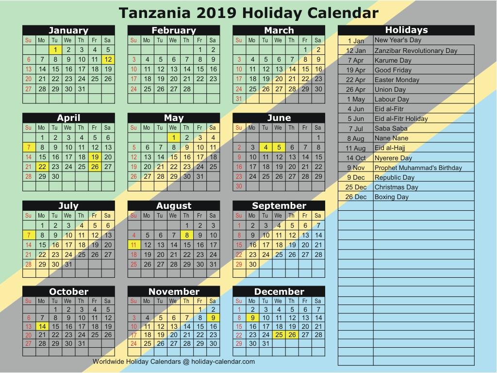 Tanzania 2019 / 2020 Holiday Calendar