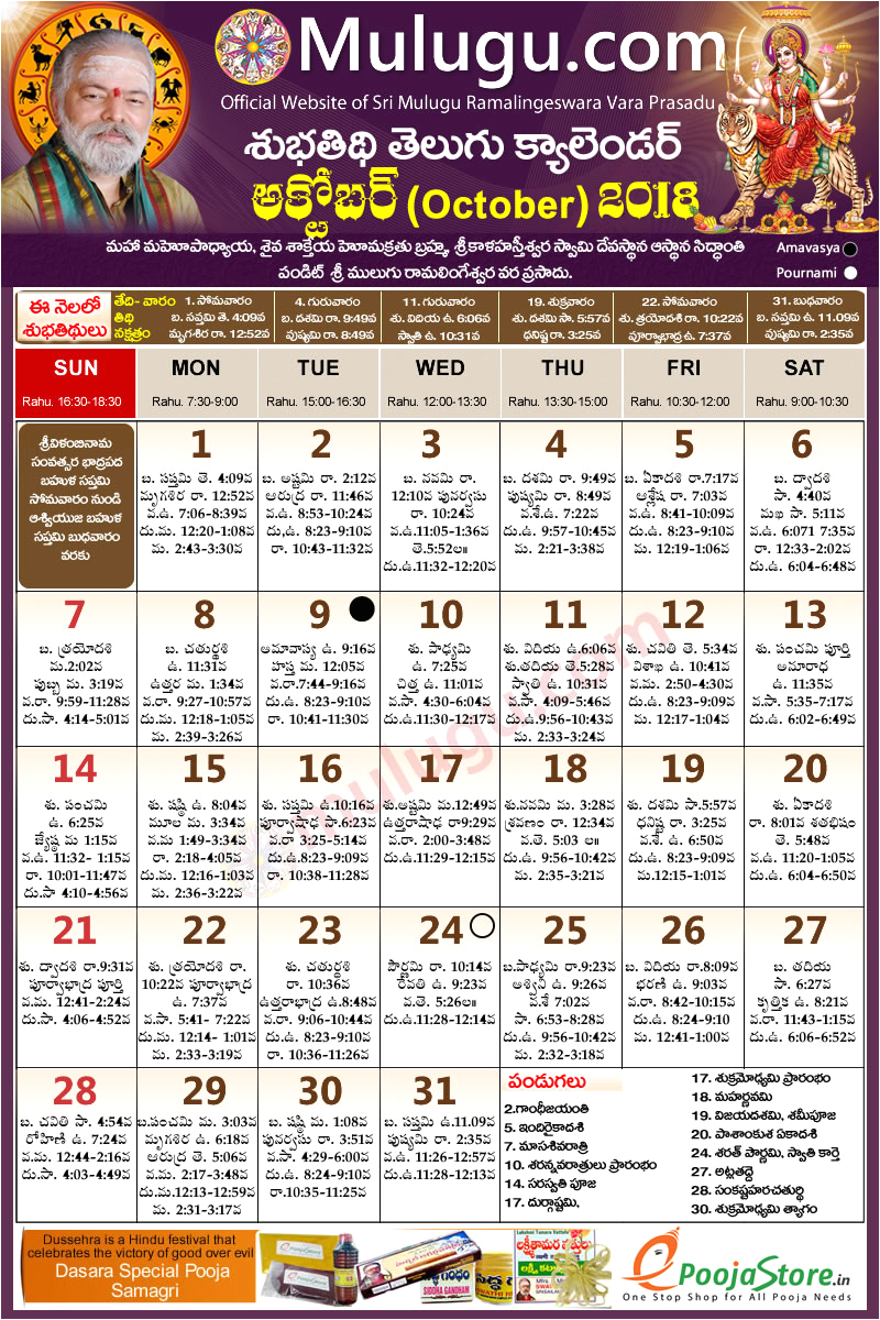 Telugu Calendar 2019 York Subhathidi October Telugu Calendar 2018