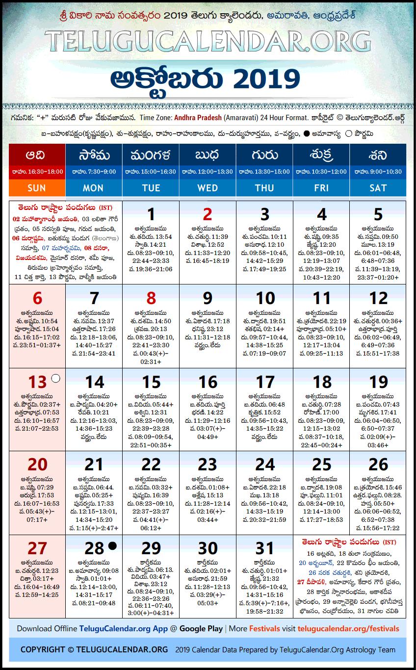 Telugu Calendars 2019 October Festivals Pdf