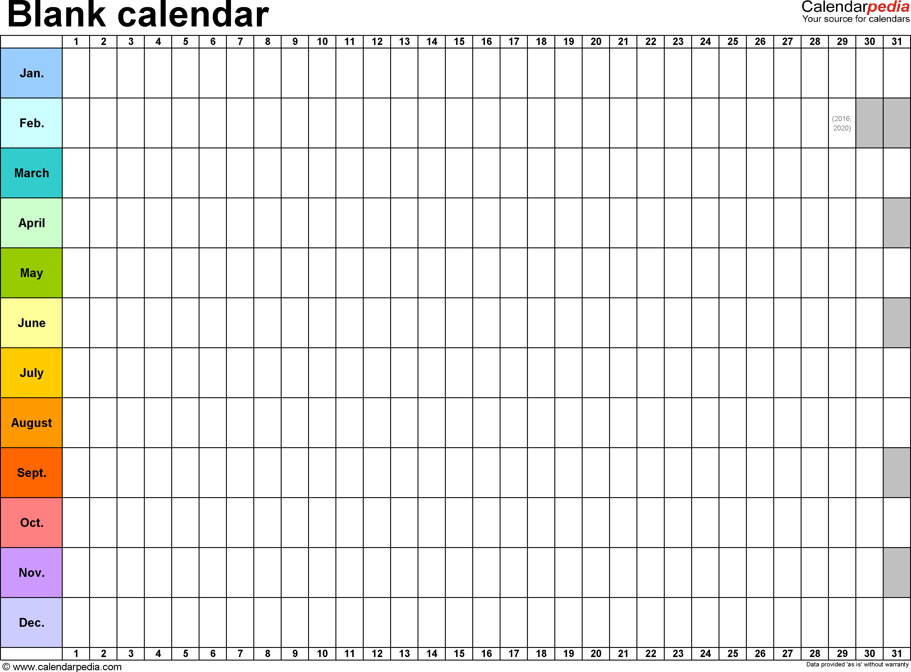 Template 2: Excel Template For Blank Calendar (Landscape Orientation