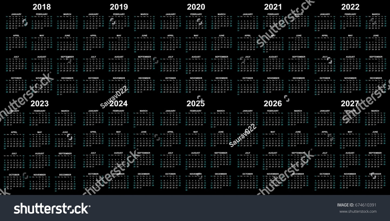 Ten Year Calendar 2018 2019 2020 Stock Vector (Royalty Free) 674610391