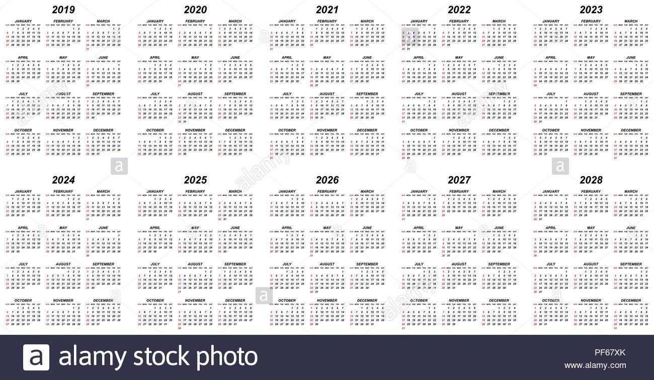 Ten Years Simple Editable Vector Calendars For Year 2019 2020 2021