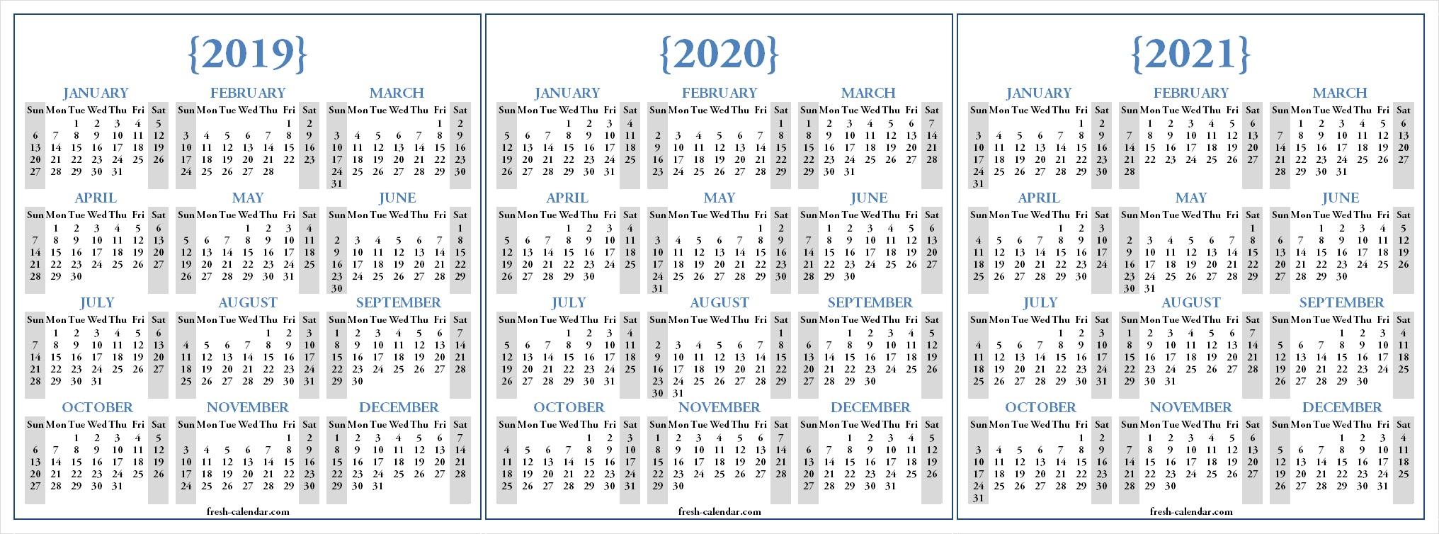 Three Yearly 2019 2020 2021 Calendar Printable Free