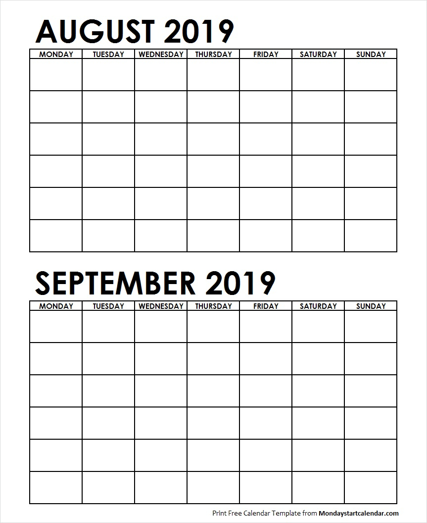 Two Month August September 2019 Calendar Blank