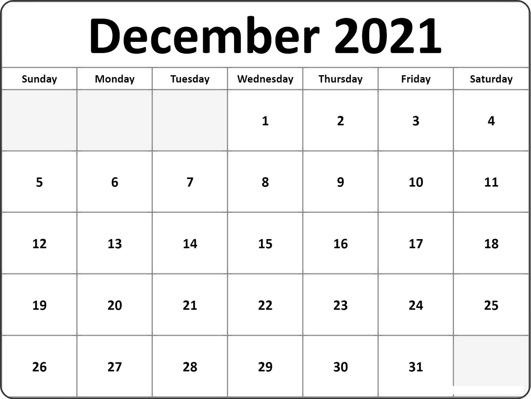 Universal Print Online Calendar 2021 Blank