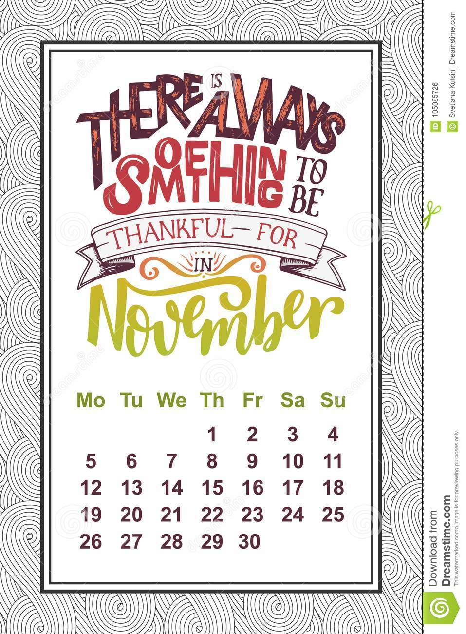Vector Calendar For Month 2 0 1 8. Hand Drawn Lettering Quote For