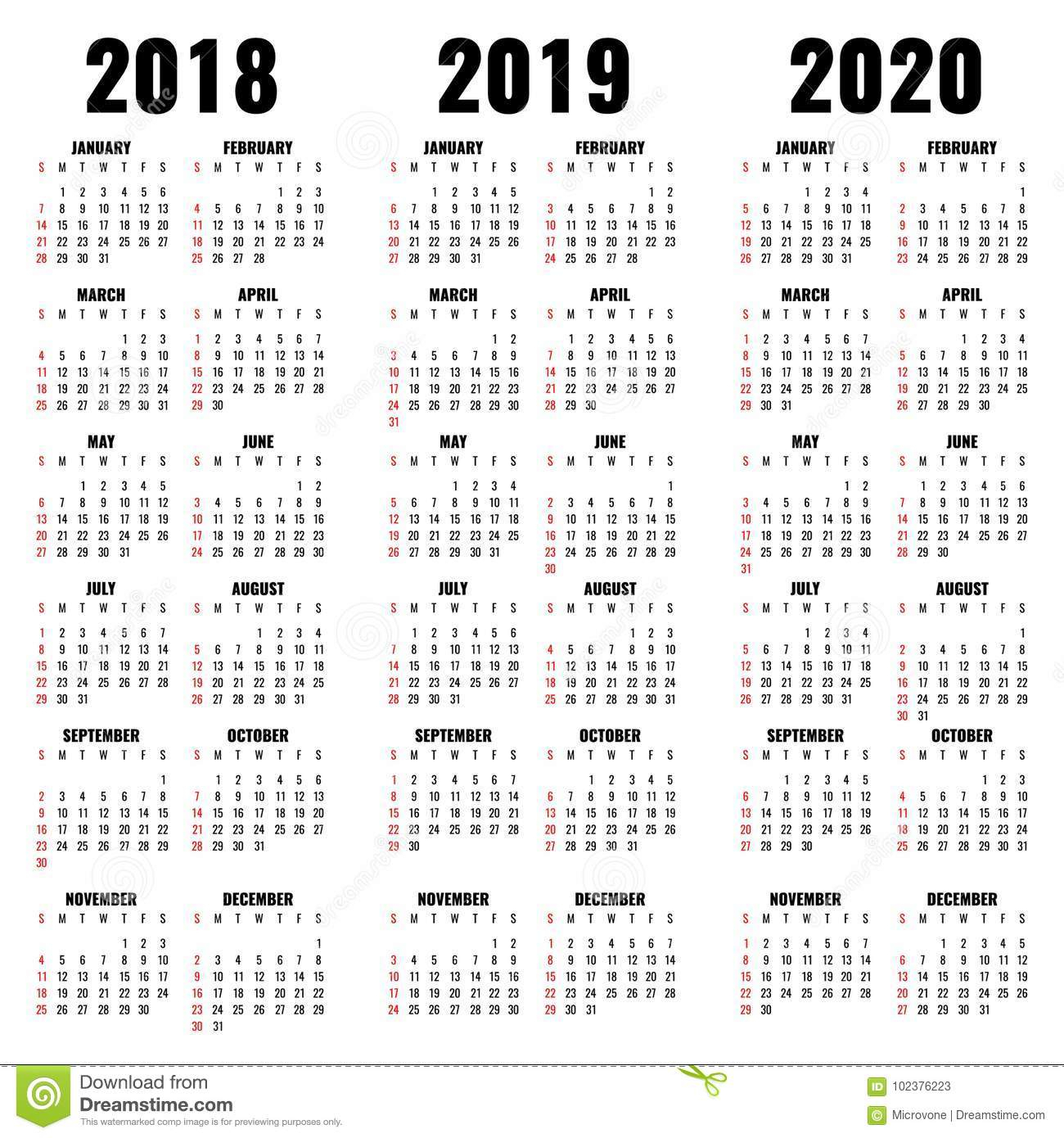 Vector Calendar Template 2018, 2019 And 2020 Years Stock Vector