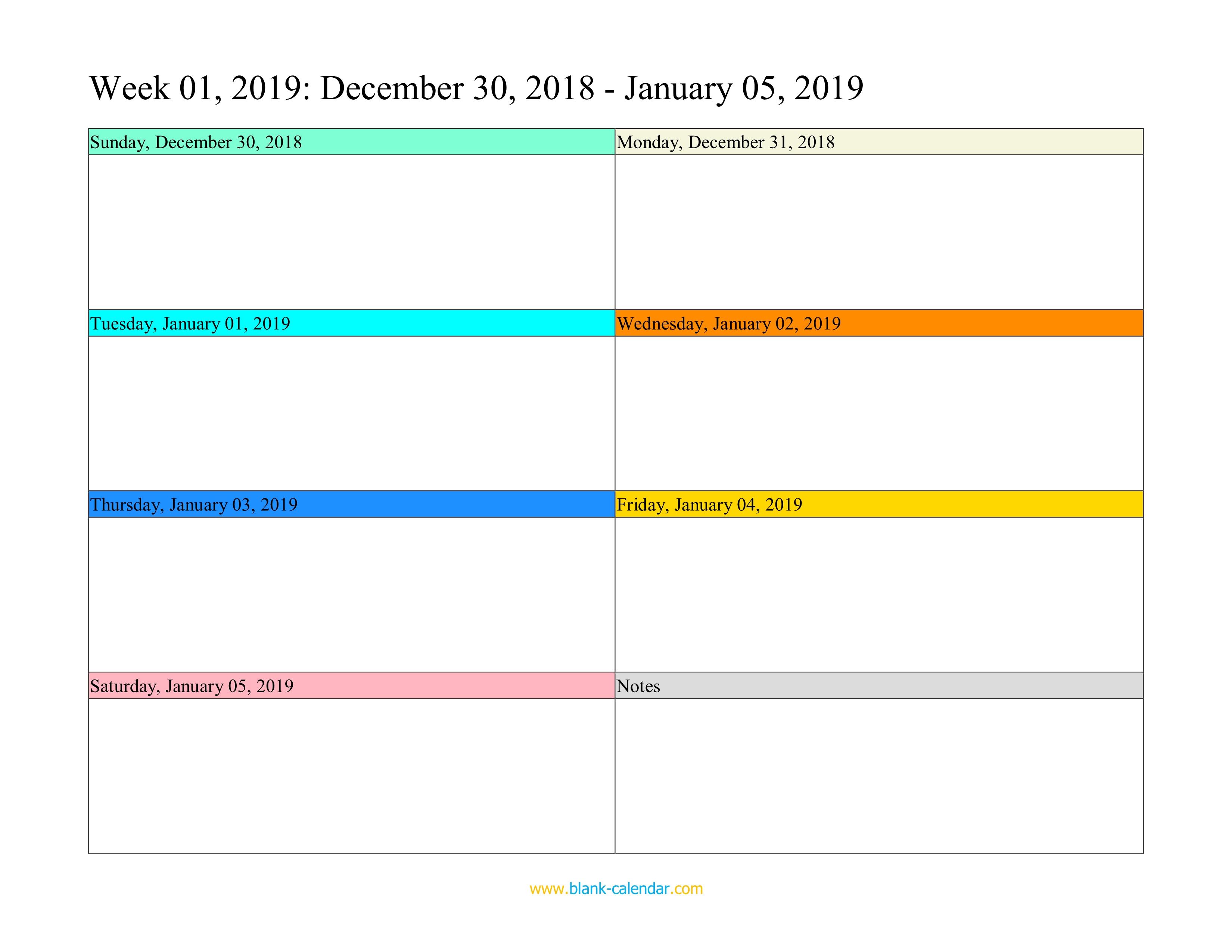 Weekly Calendar 2019 (Word, Excel, Pdf)