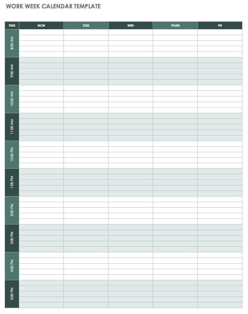 Weekly Calendar Template Excel