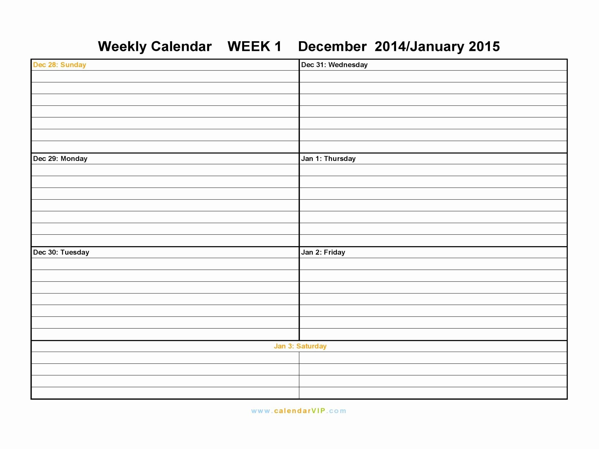 Weekly Calendar Template Free