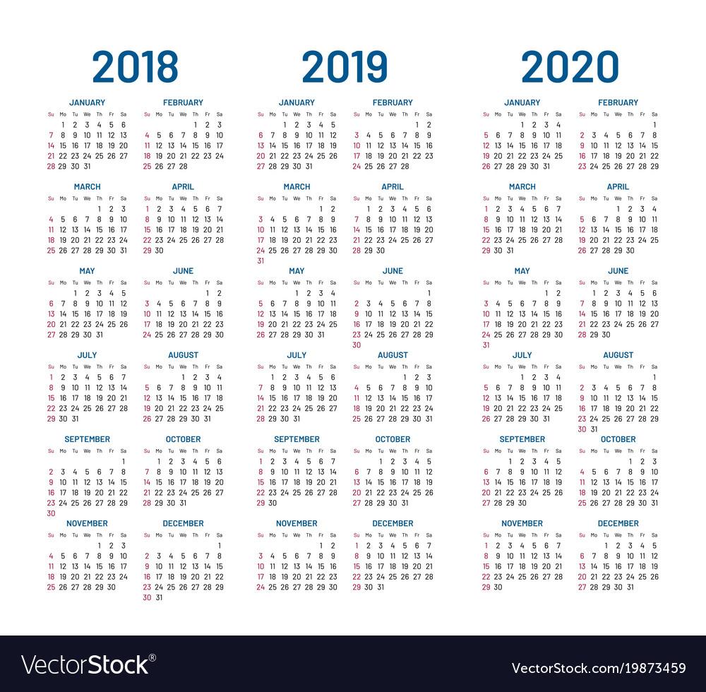 Year 2018 2019 2020 Calendar Royalty Free Vector Image