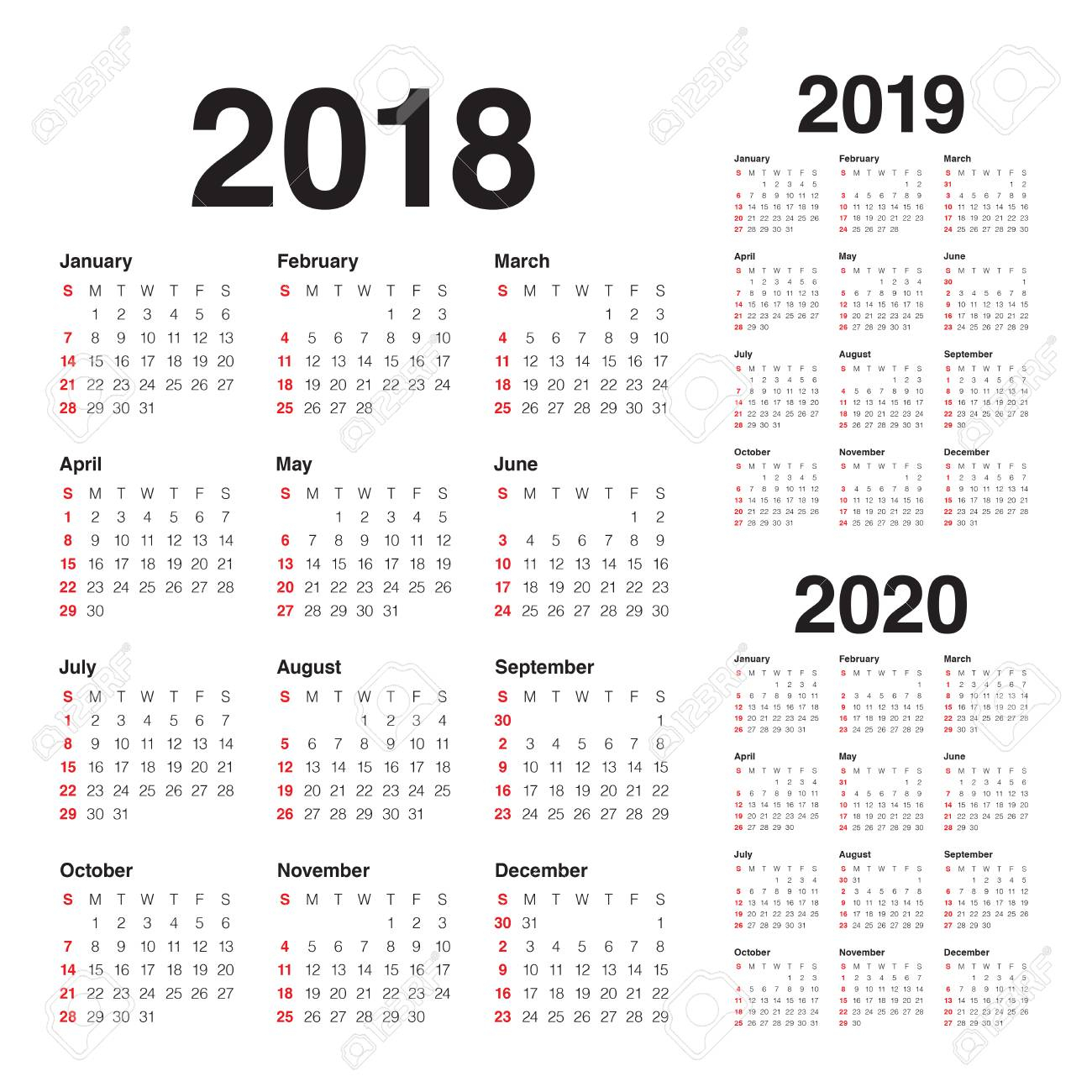 Year 2018 2019 2020 Calendar Vector Design Template, Simple And