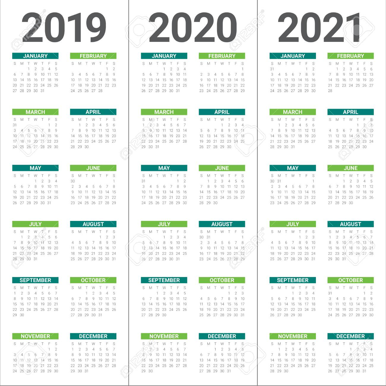 Year 2019 2020 2021 Calendar Vector Design Template, Simple And