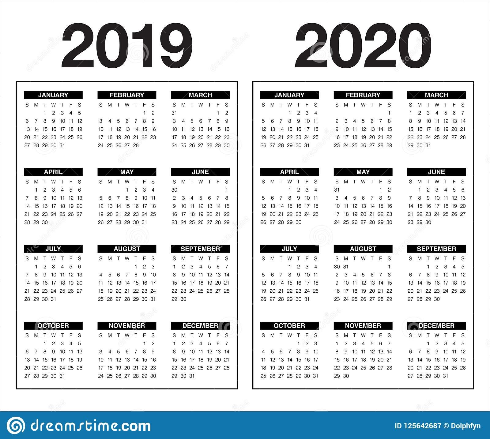 Year 2019 2020 Calendar Vector Design Template Stock Vector
