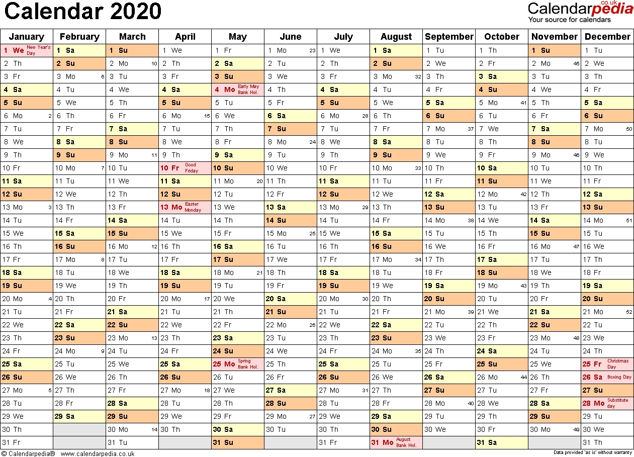 Year 2020 Calendar United Kingdom