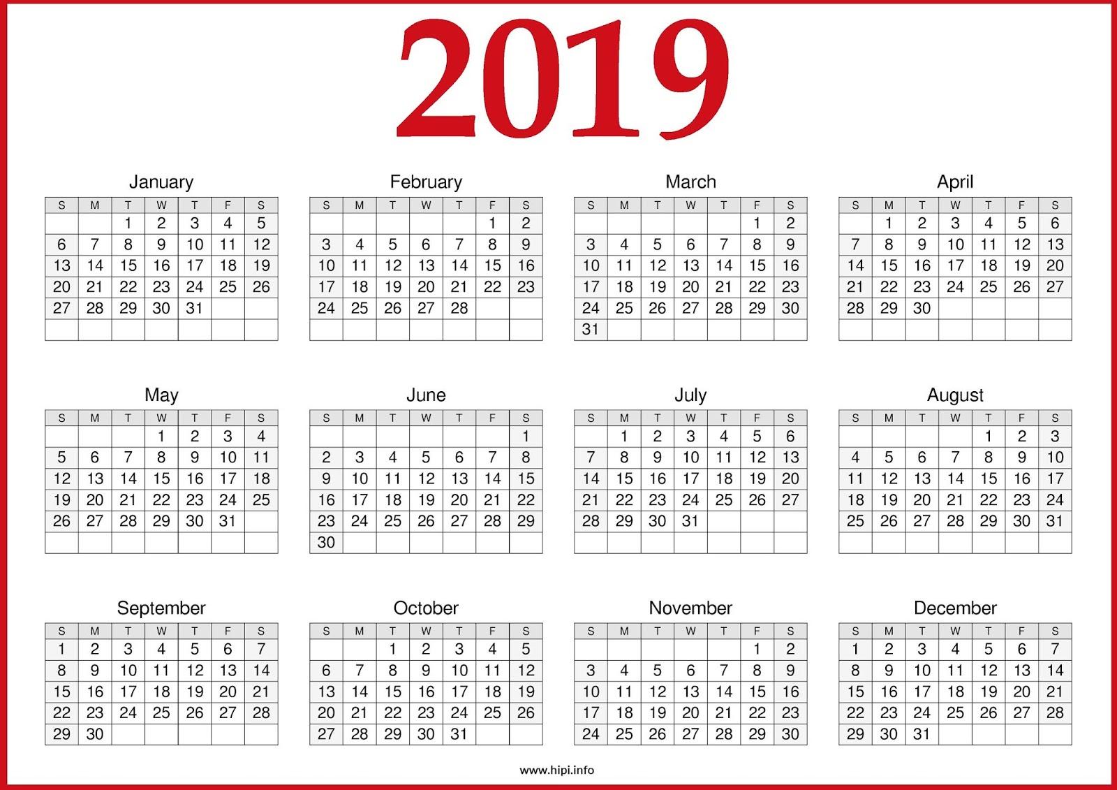 Yearly Calendar Template 2019 - Free Printable Calendar, Templates