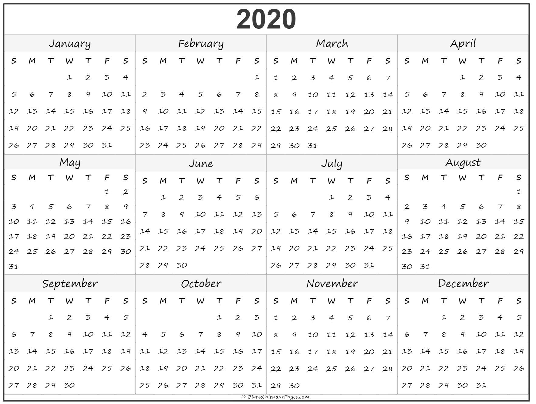 Yearly Printable 2020 Calendar Year – Get Your