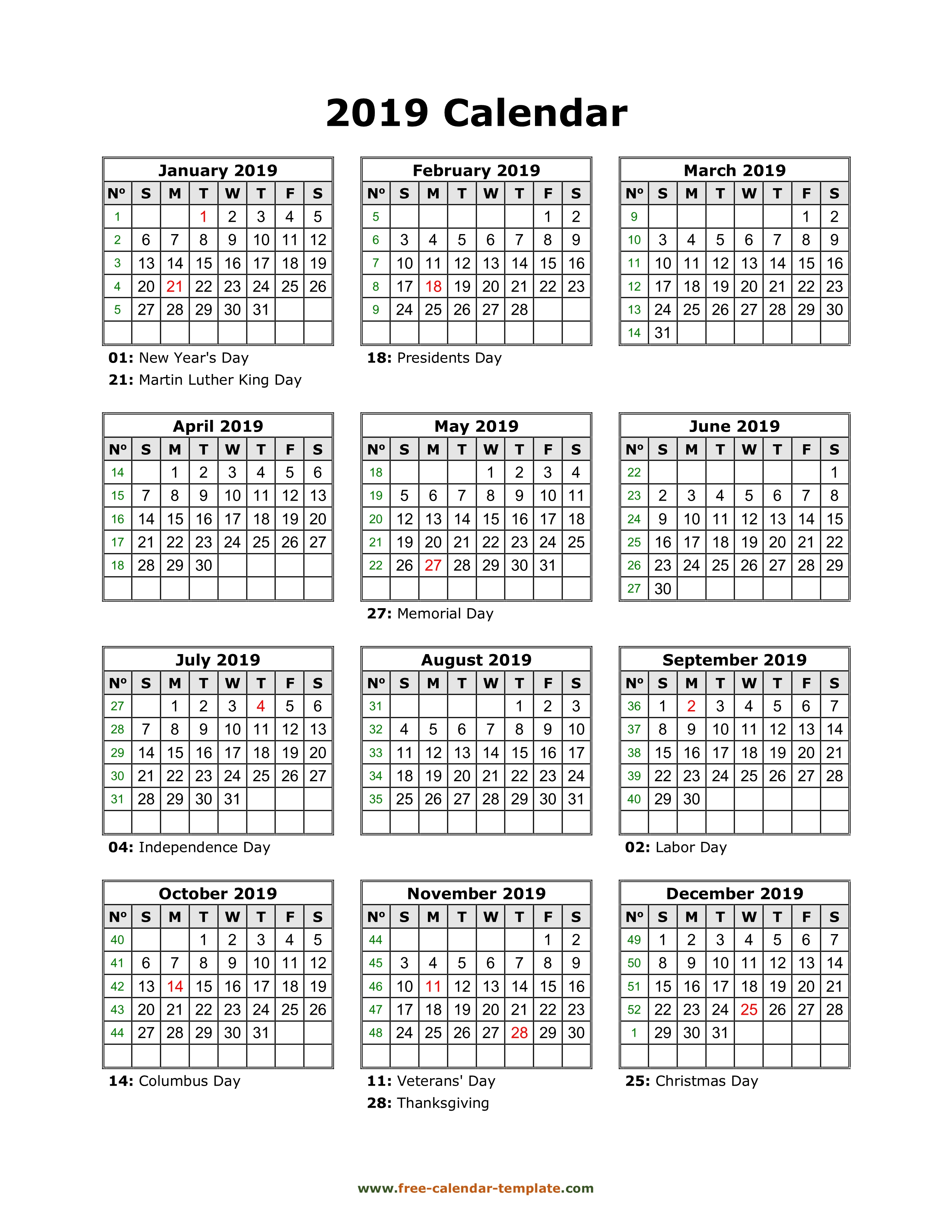 Yearly Printable Calendar 2019 With Holidays