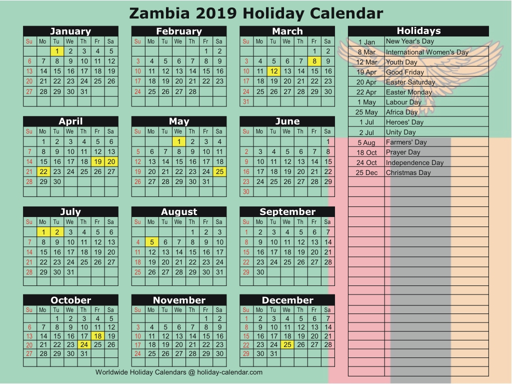 Zambia 2019 / 2020 Holiday Calendar
