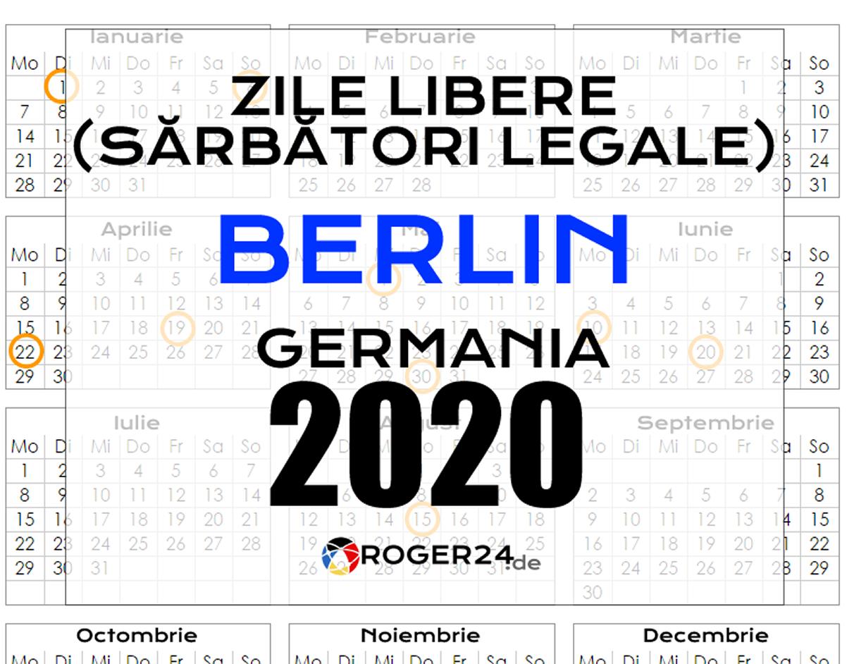 Zile Libere (Sărbători Legale) În Berlin, Gemania, 2020