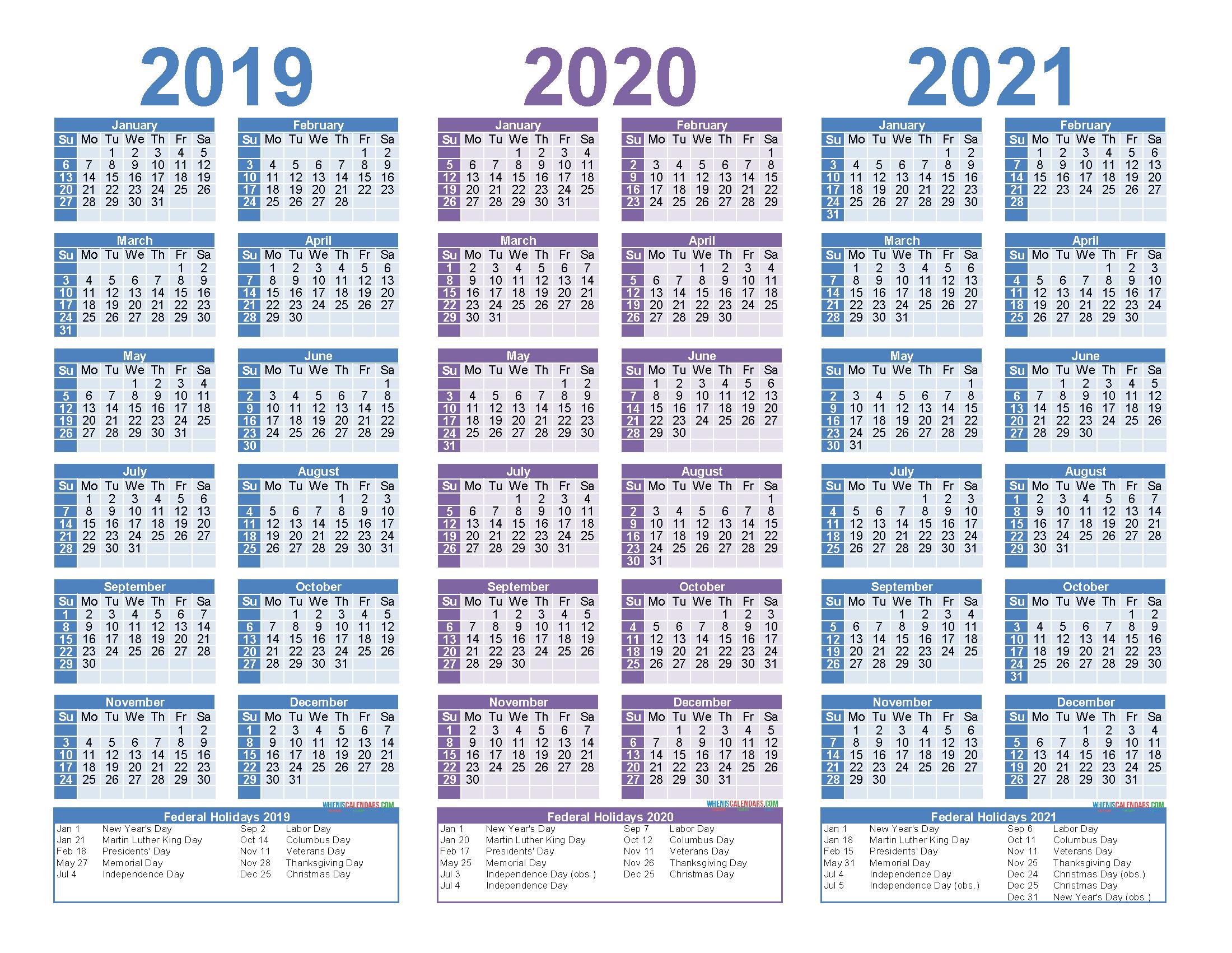2 Year Calendar 2020-2021   Calendar Printable Free