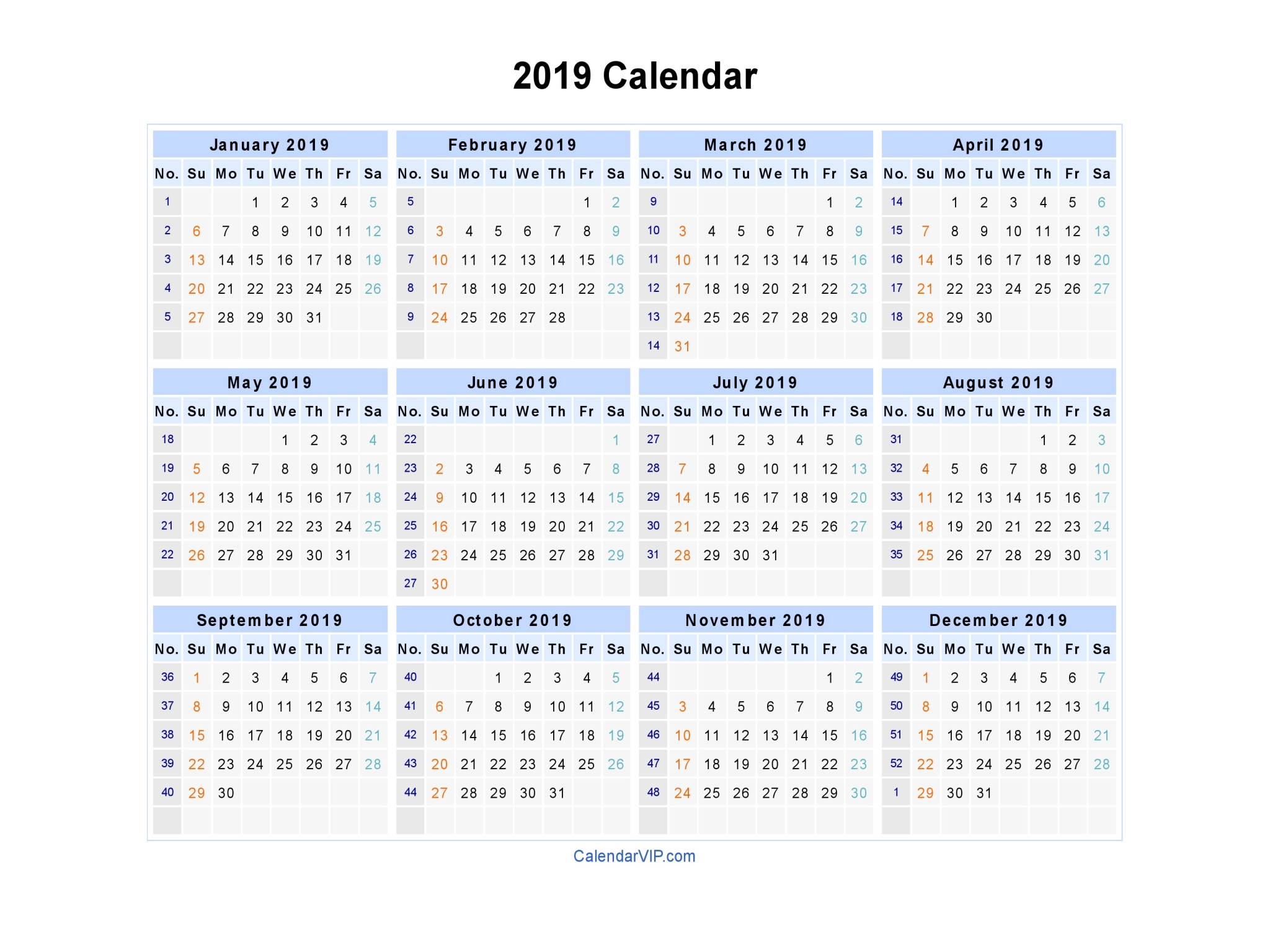 2019 Calendar With Week Numbers - Free Download