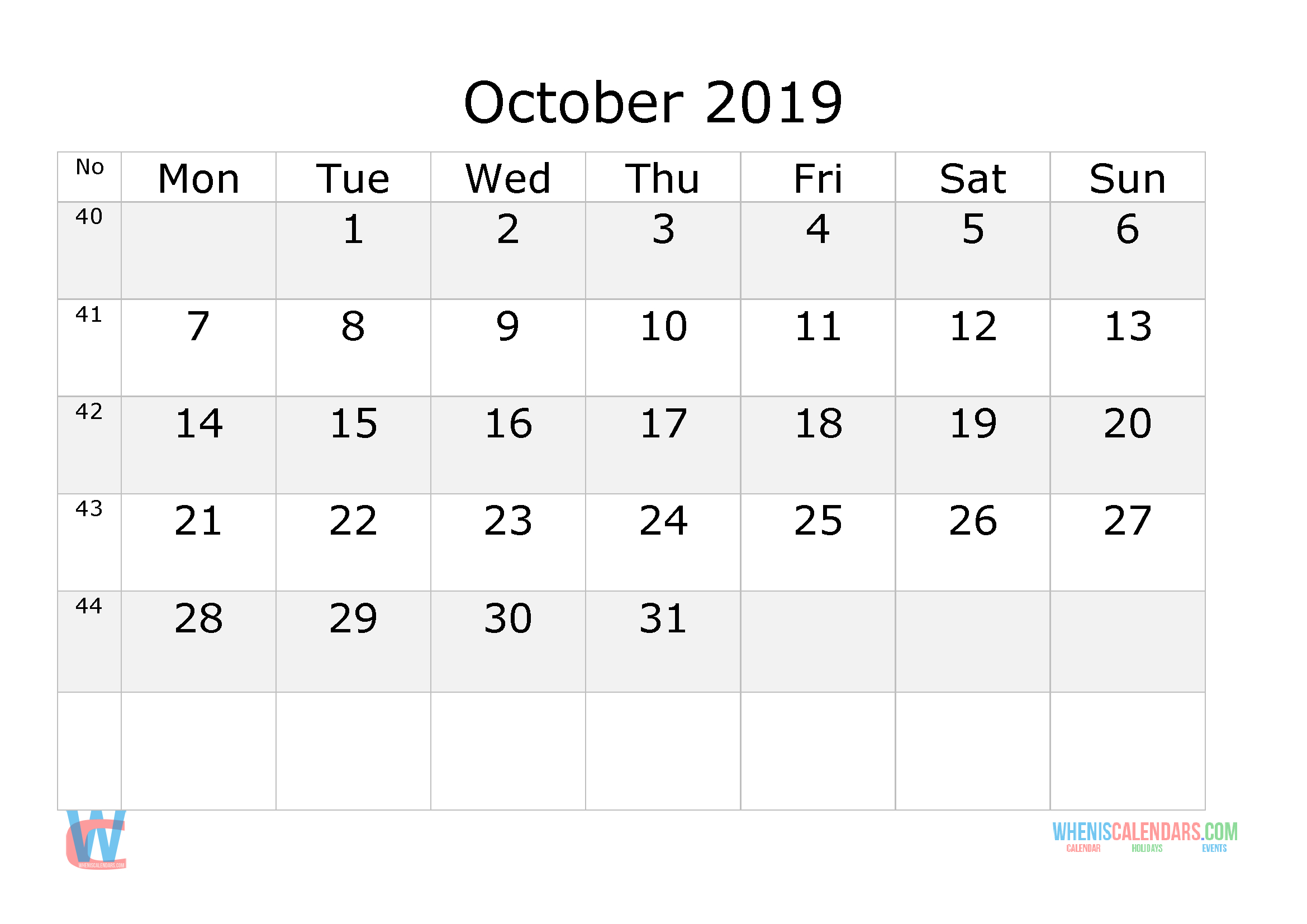 2019 Calendar With Week Numbers