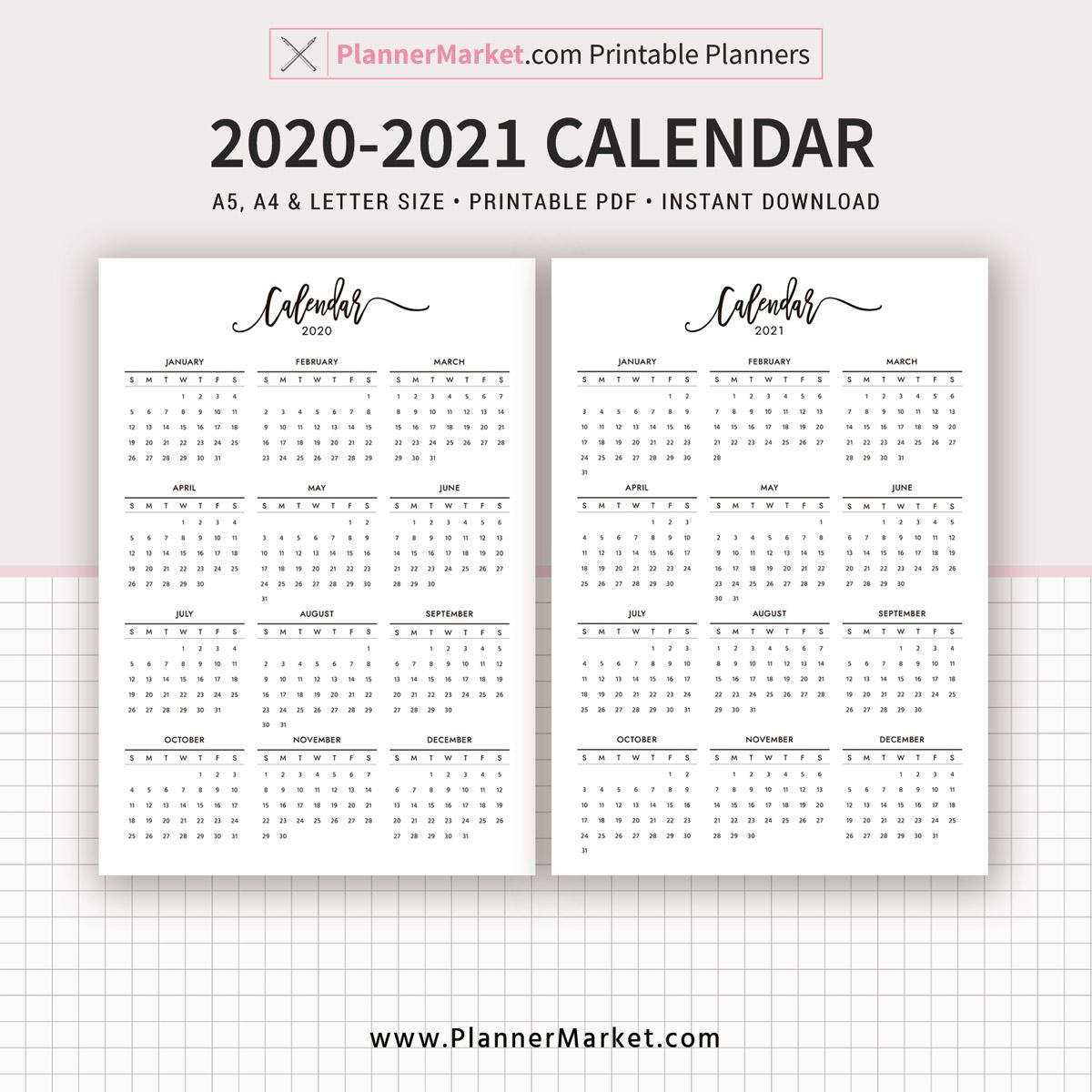 2020-2021 Calendar Printable, Year At A Glance, Filofax A5