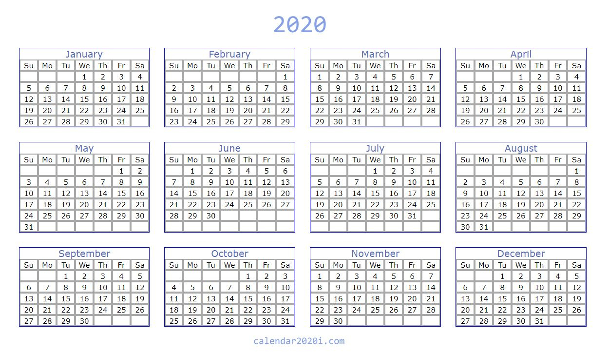 2020 Blank Calendar Printable Template