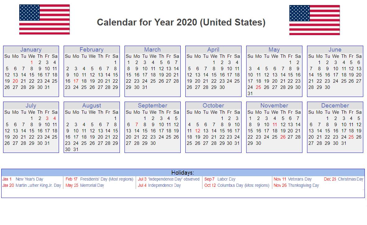 2020 Calendar Printable With Federal Holidays