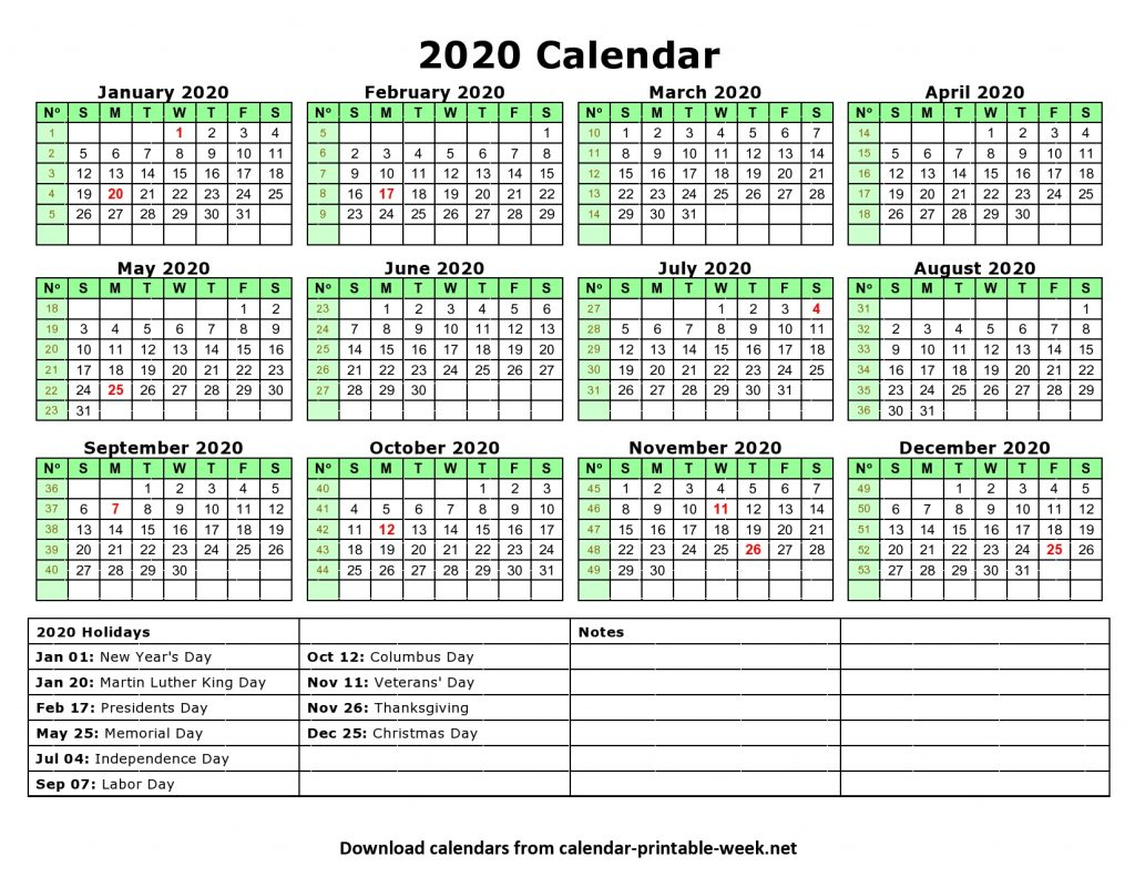 2020 Calendar Printable With Federal Holidays