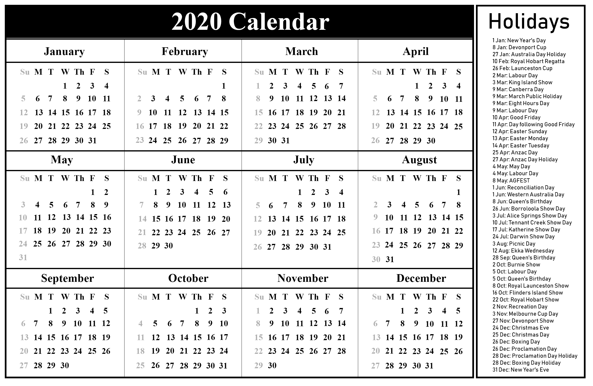 2020 Printable Calendar Australia By Month