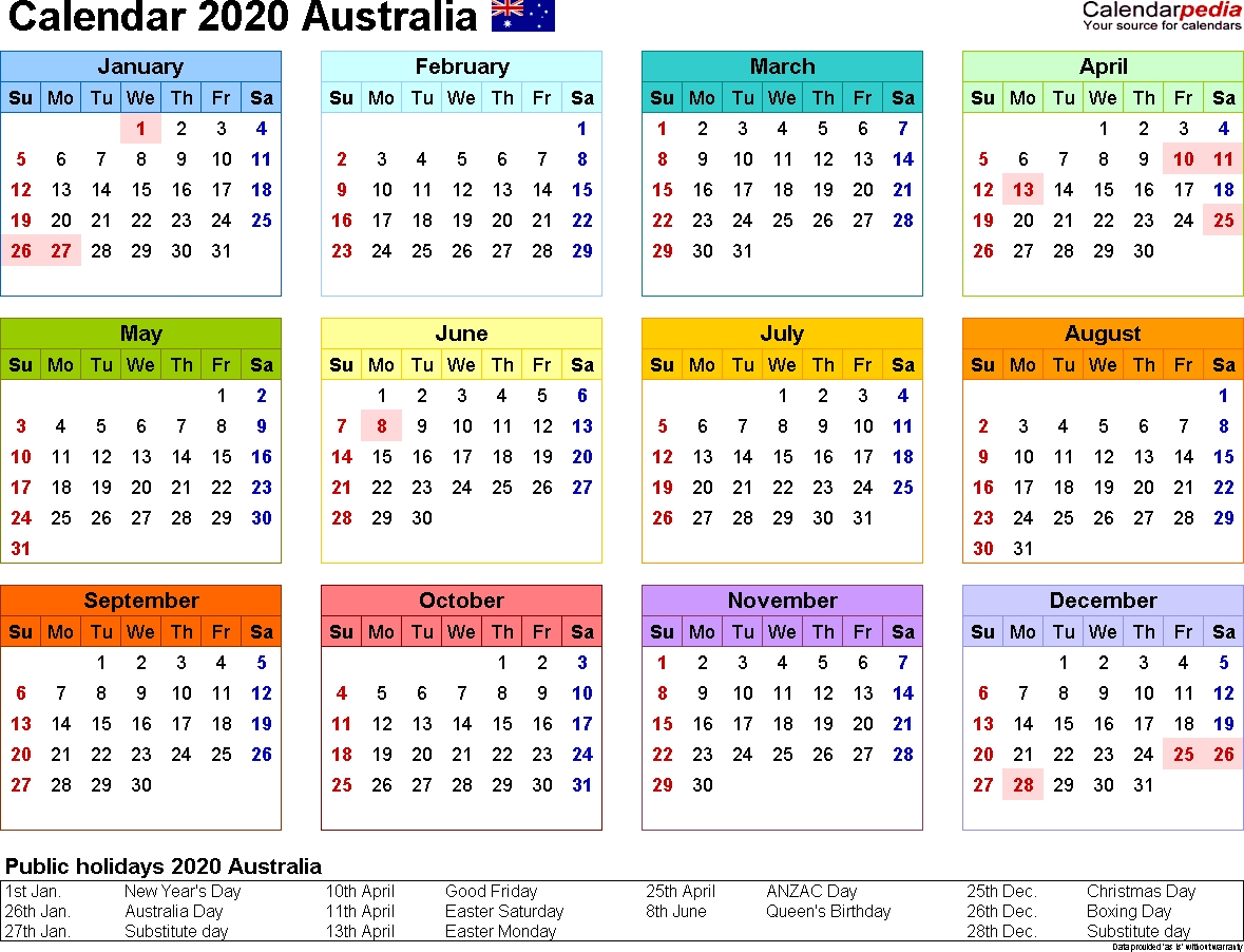 2020 Qld School Calendar Printable