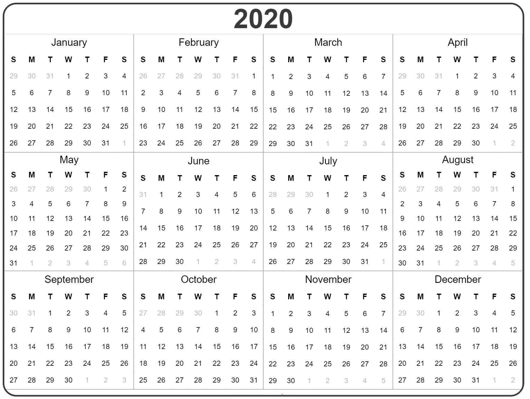 2020 Yearly Calendar