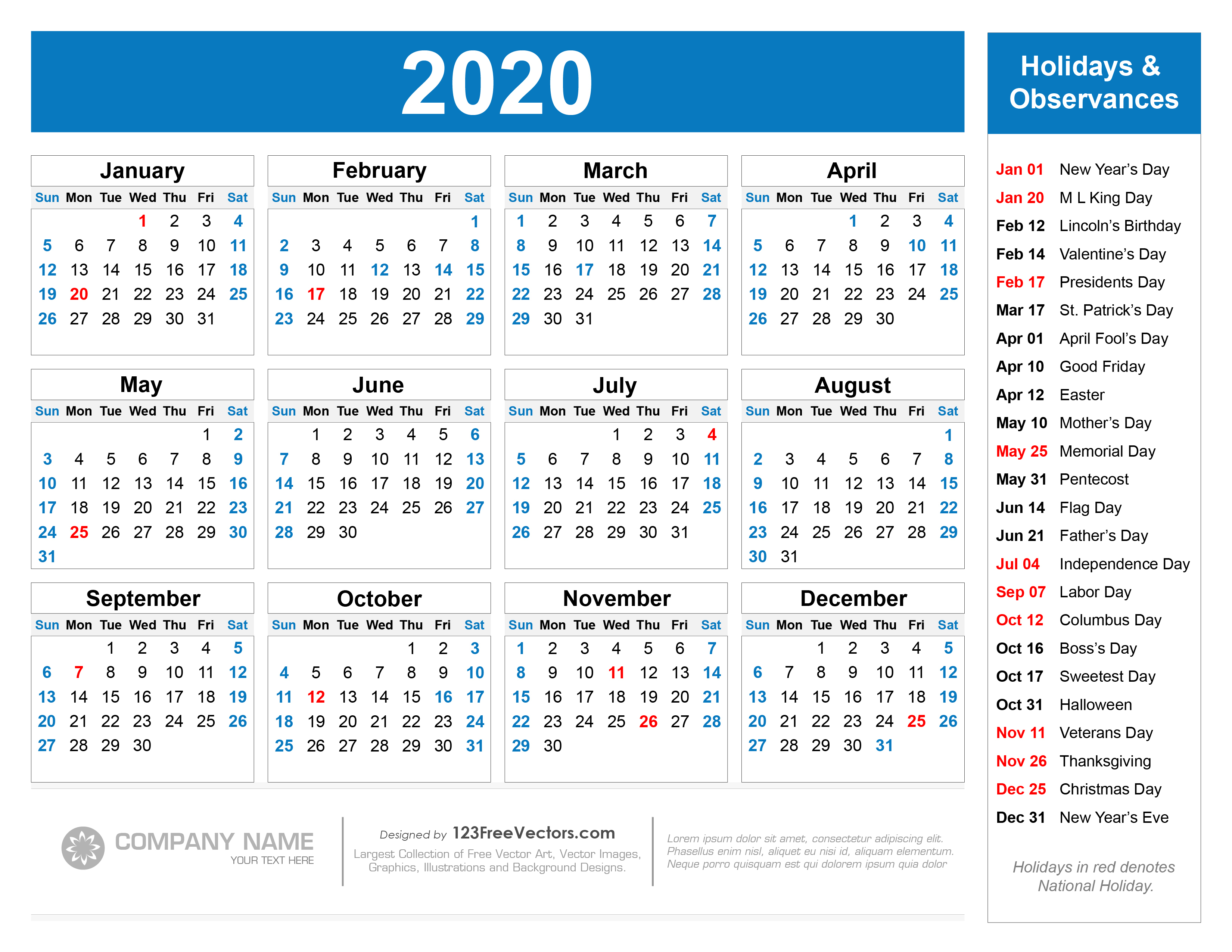 2020 Yearly Calendar With Holidays Printable