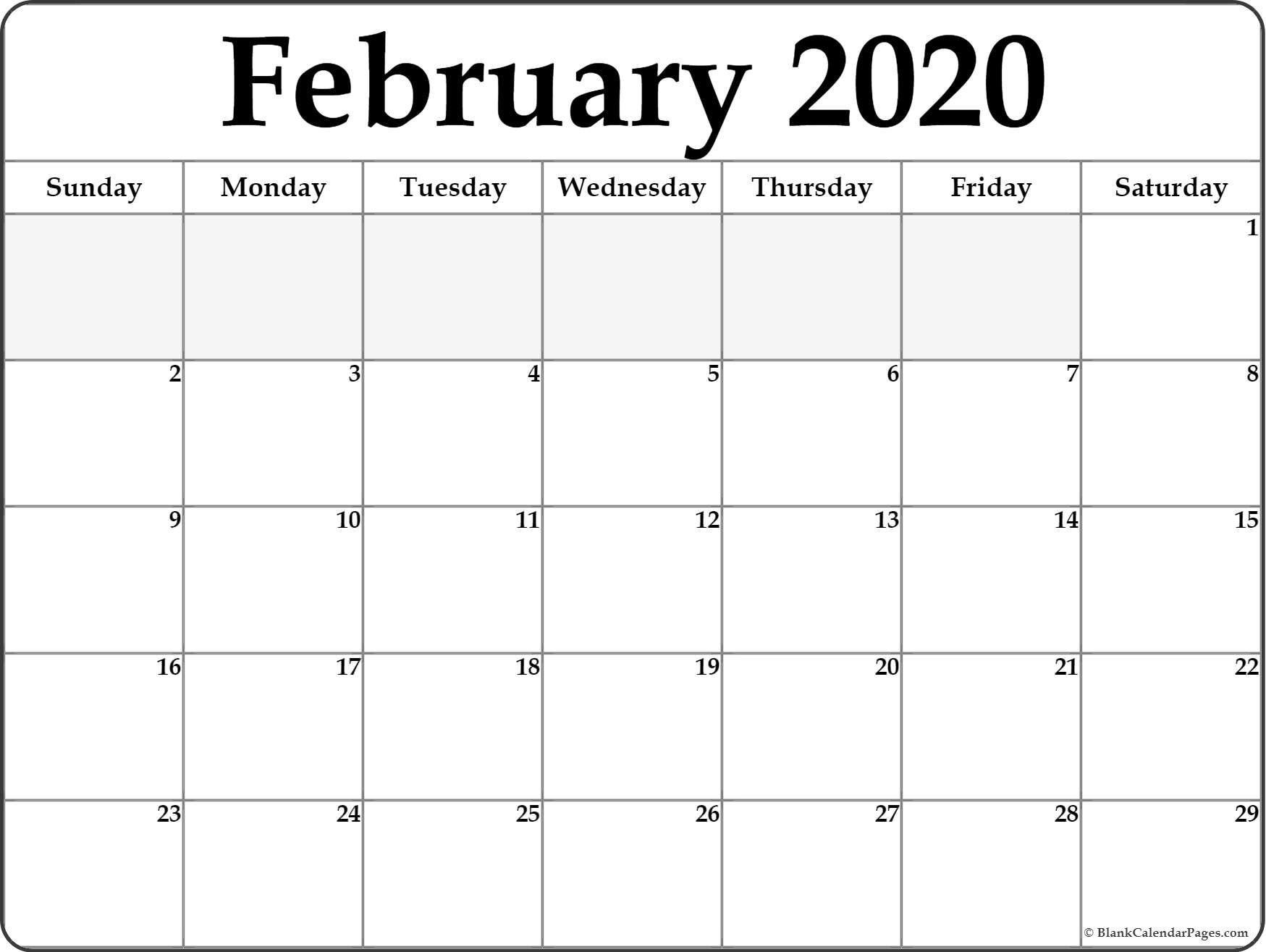 Blank Calendar For February 2020 - Wpa.wpart.co