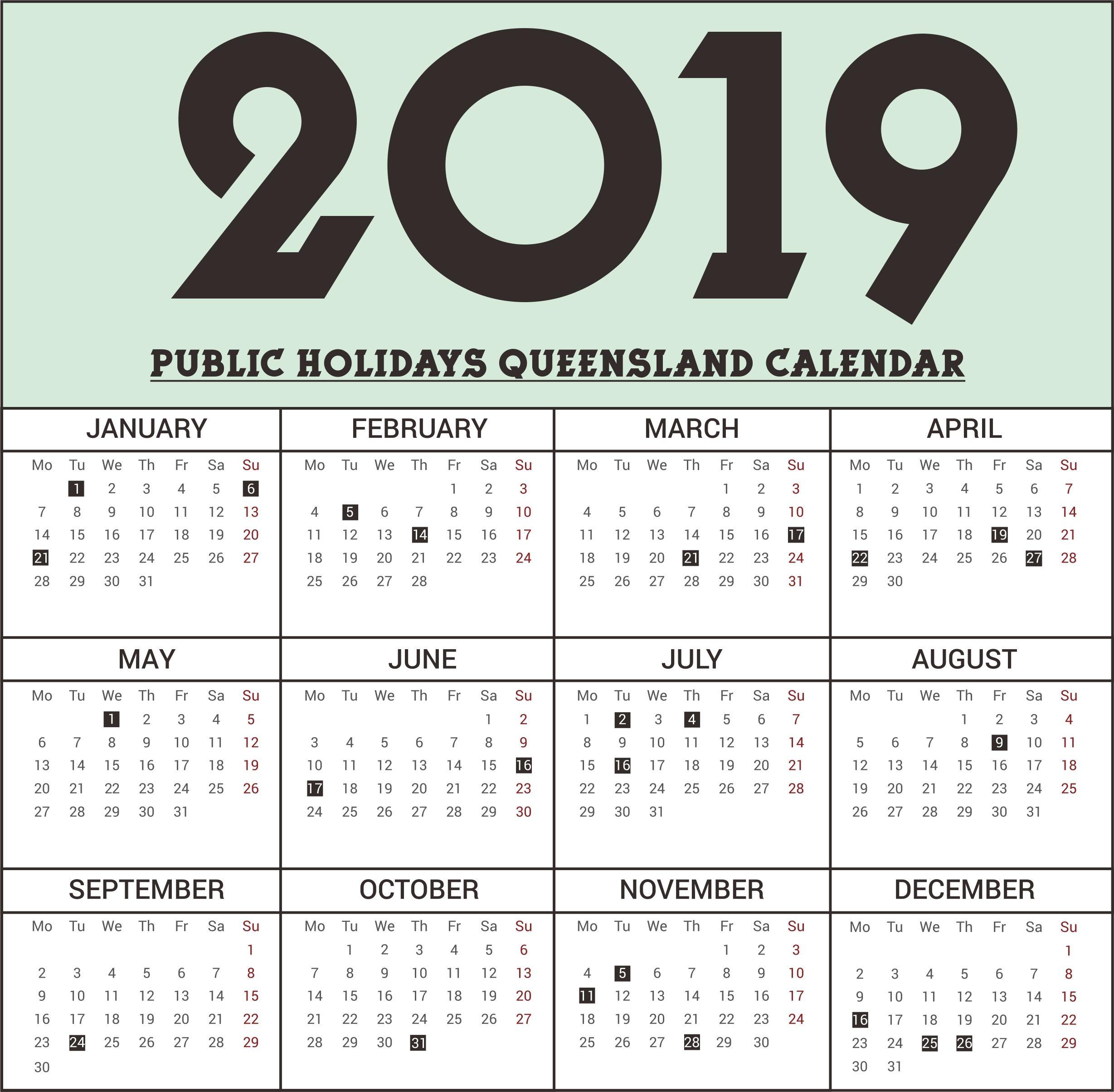 Calendar 2018 School Holidays Qld