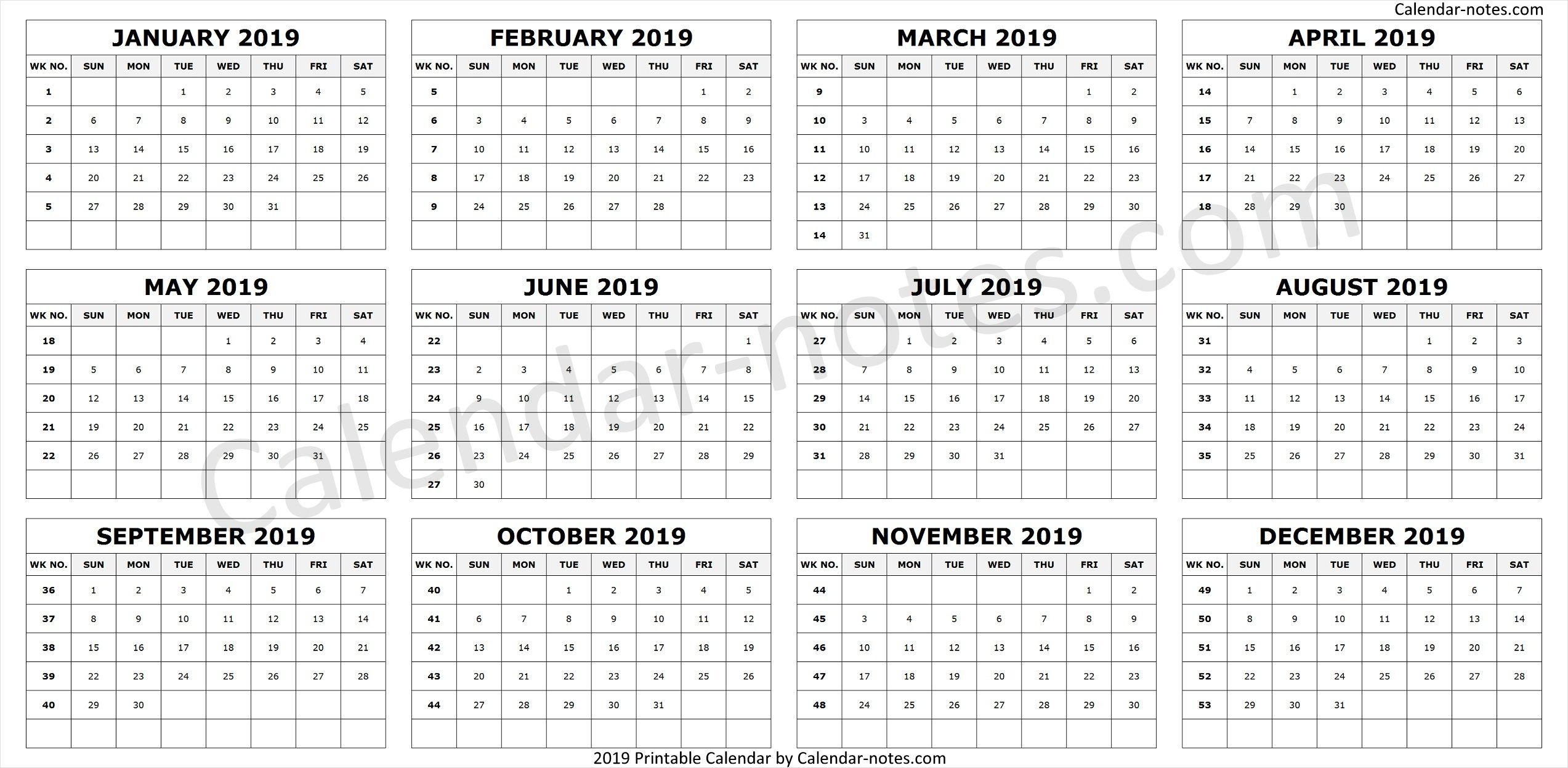 Calendar 2019Week Numbers