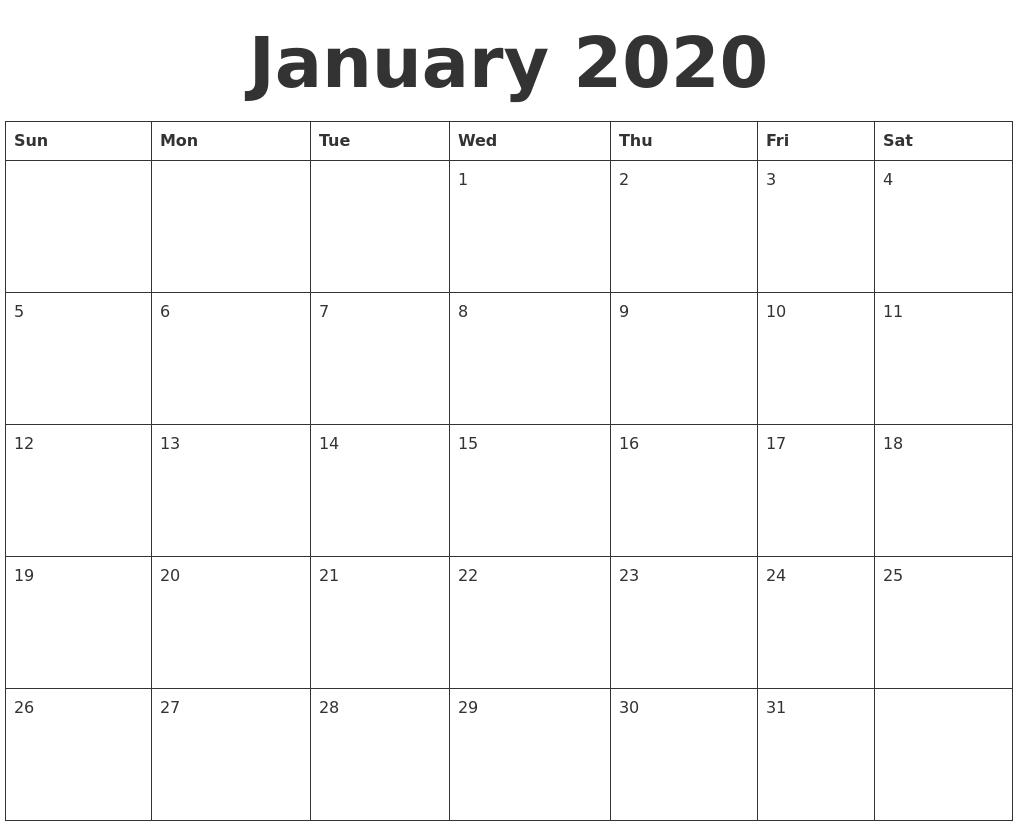 Calendar 2020 Blank - Wpa.wpart.co