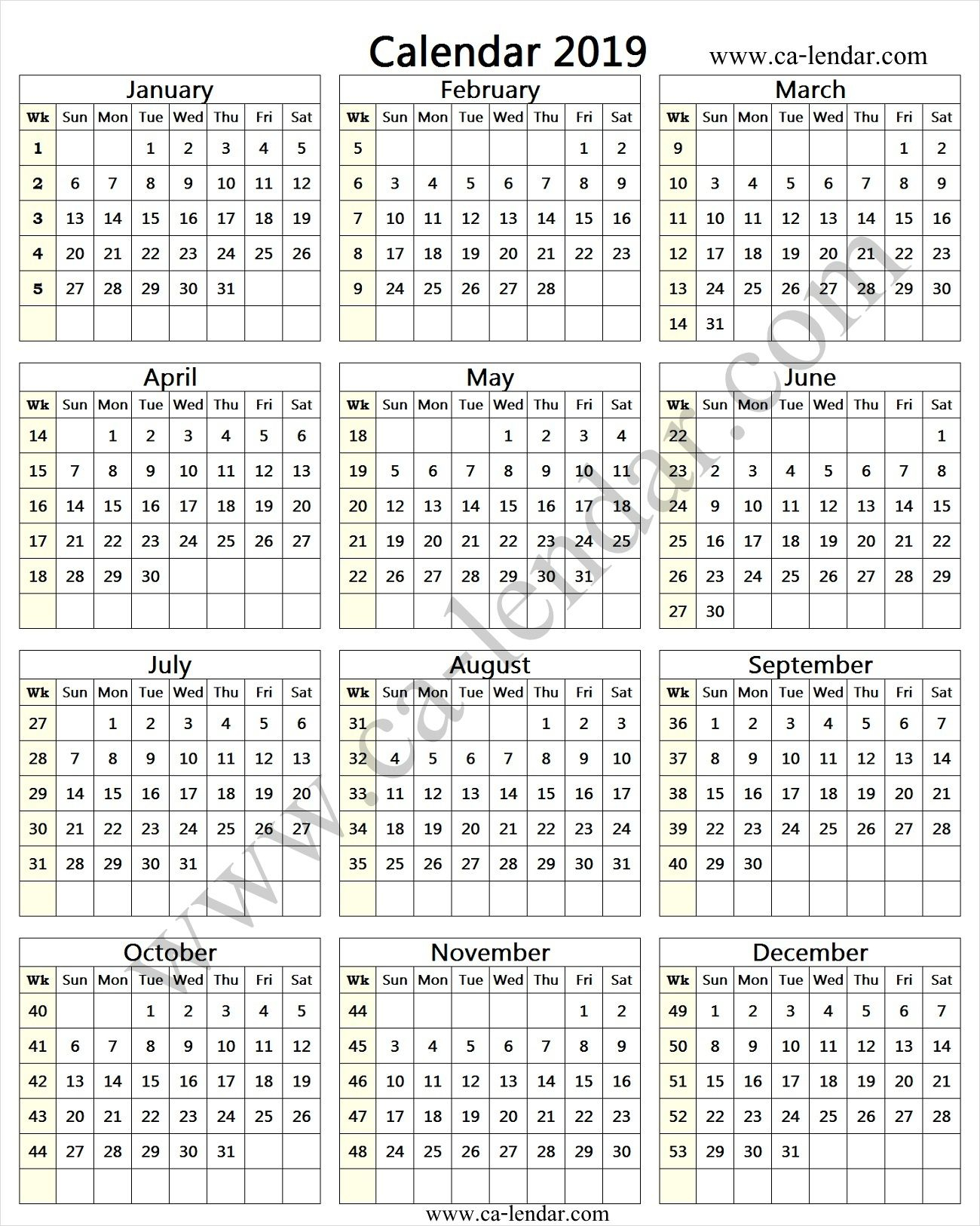 Calendar With Week