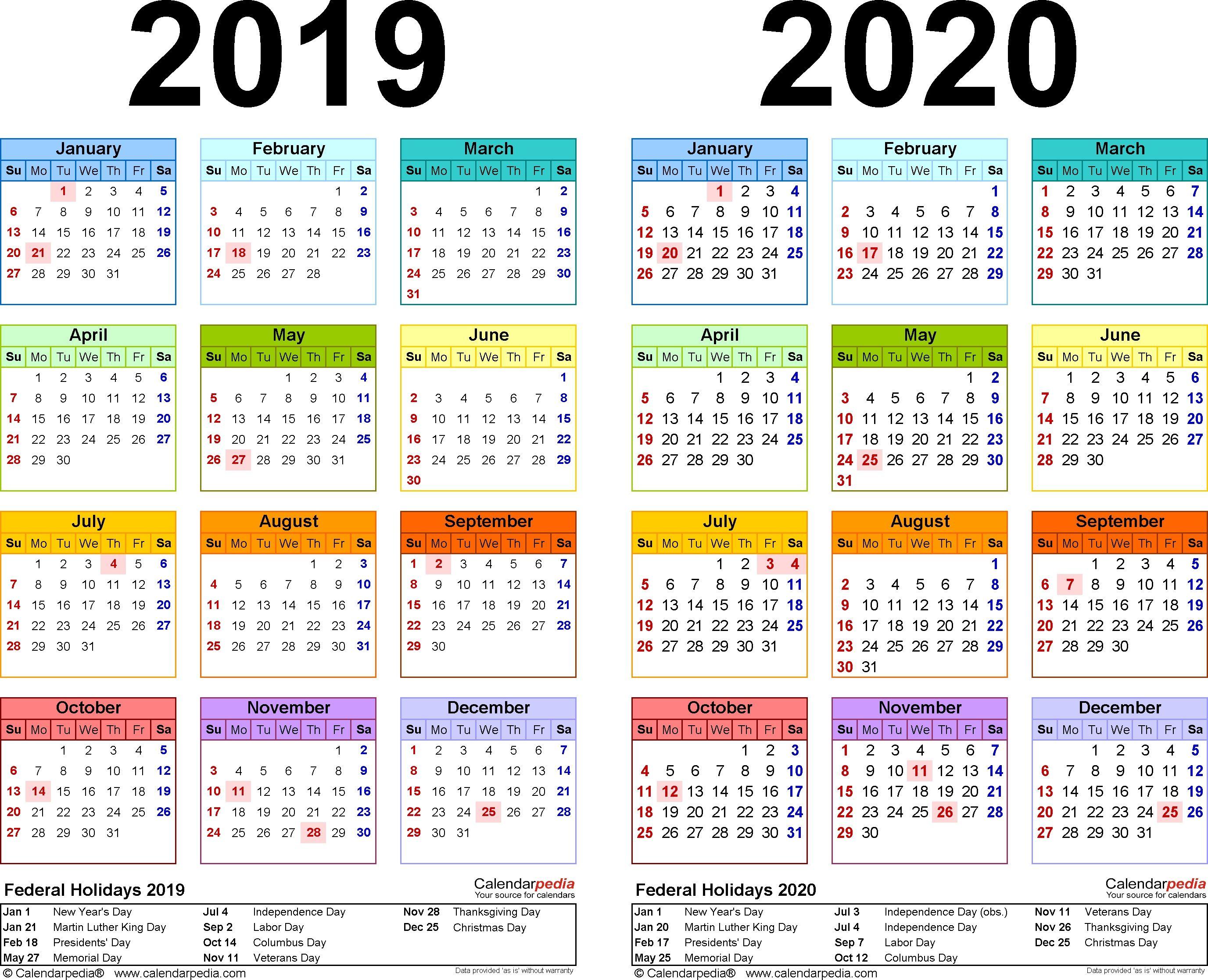 Calendar Zile Libere 2020